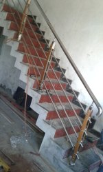 Round Stairs SS And Wood Pillar Railing, For Home