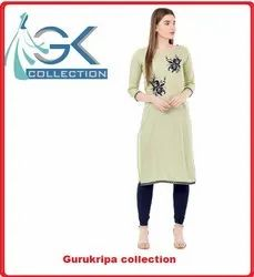 Ladies Pista Embroidery Kurti