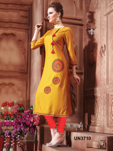 Large Xl Party Wear Yellow Cotton Embroidered Designer Kurti Rs