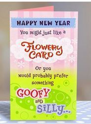 Flowery Goofy New Year Wishes Card