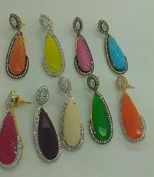 Color Stone Long Earrings