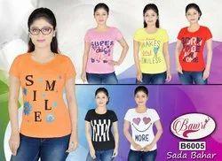 Cotton Half Sleeve Bawri Ladies T Shirt