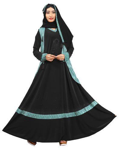 c443c594abce Black & Turquoise Lycra Stylish New Dubai Embosed Jacket Style Women' s  Abaya Burkha 2018