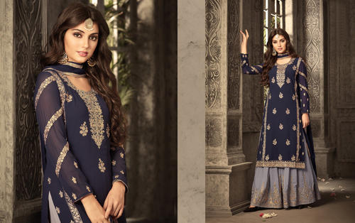 fadd30a177 Designer Georgette With Embroidery And Stone Work Sharara Suit, Rs ...