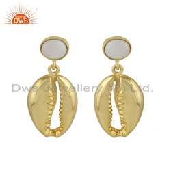 Mother of Pearl Gemstone Yellow Gold Plated Cowrie Design Earrings