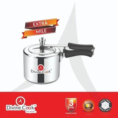 Silver Color Aluminum Pressure Cooker-3 Ltr Extra Mile - Divine Cook