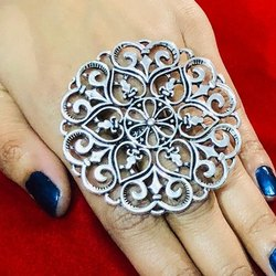 Oxidized Cut Work Rings