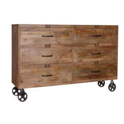 6 Drawer Industrial Wooden Cabinet