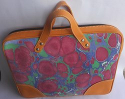 Mix Color Laptop Marble Printed Leather Hand Bag, For Office, Packaging Type: B.o.p & Master Box