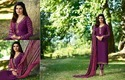 French Crepe Purple Semi-stitched Salwar Suit