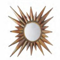 Copper Sun Design Wall Mirror, Mirror Shape: Round