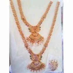 Golden Double Gold Plated Necklace Set, Occasion: Wedding