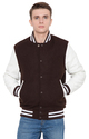 Brown Wool Body With White Leather Sleeves Varsity - Men''s