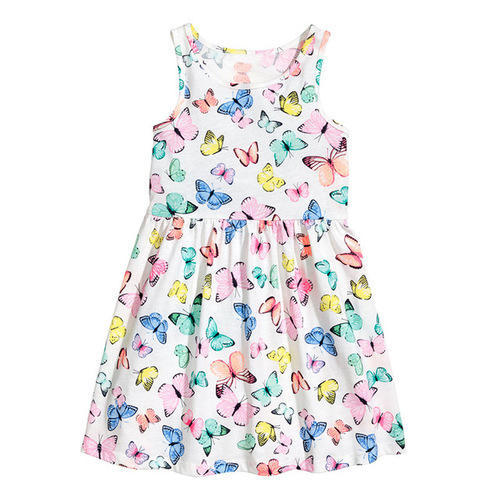 Tanvi White Kids Girls Printed Frock
