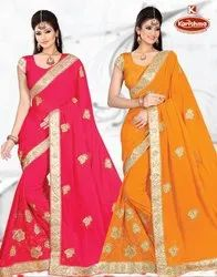 Dyed Embroidery & Diamond work Saree with Lace - Amanat