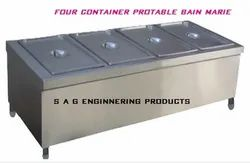 Stainless Steeel Four Compartment Bain Marie Portable