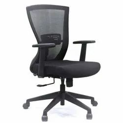 Black Adjustable Arms Revolving Chair Mid Back