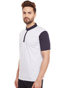 100% Cotton Men Half Sleeve Solid Mandarin Collar T-shirt
