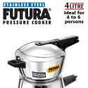 Silver 4 Litre Futura Stainless Steel Induction Compatible Pressure Cooker