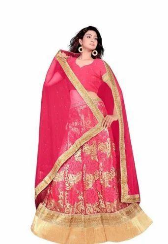 7eaf1816a83a3 Brocade Dark Pink Color Lehenga With Choli And Dupatta