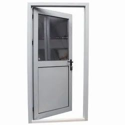 Silver Powder Coated Aluminium Bathroom Door, Single