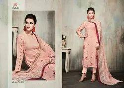 Casual Embroidered Ladies Cotton Salwar Suits, Handwash