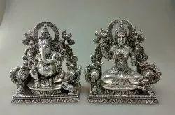 Silver Laxmi Ganesh Idol Sit on the Chowki