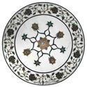 White Marble Coffee Table Top Mosaic Stone Home Art