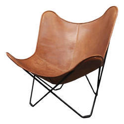 Brown Antique Finish Genuine Leather Butterfly Chair, Size: 80 x 70 cm