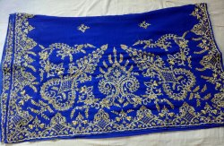 Leaf embroidery Party Wear Zardozi Saree, 5.5 m (separate blouse piece), With blouse piece