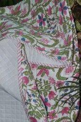 Bush Flower, Hand Block Printed Baby Quilt