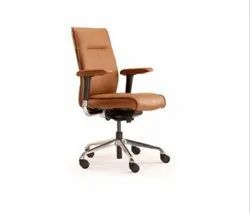 Pure Leather Mid Back Office Chair