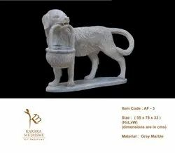 Dog with Basket Marble Stone Animal Figure