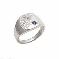 Sapphire Blue Powerful Stone Mens Handmade 92.5 Sterling Silver Ring
