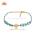 Silver Gold Plated Bead Natural Turquoise Beaded Gemstone Bracelet Jewelry