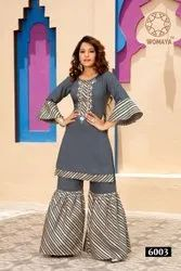 Womaya Muslin Handwork Kurti With Sharara