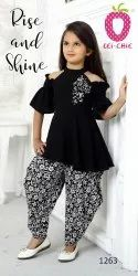 Printed Girl Classic Black Cut Shoulder Top With Floral Print Dhoti Set Party Wear, Age Group: 3-12yr