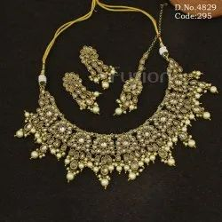 Mehandi Polish Reverse AD Necklace Set