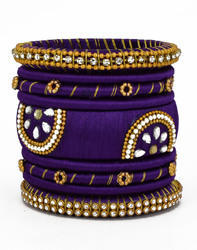 Purple and Golden Silk Thread Bangle