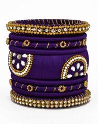 Purple and Golden Silk Thread Bangle