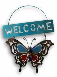 Metal Butterfly ''Welcome'' Hanging Door Sign - 7.5'' x 9.5''