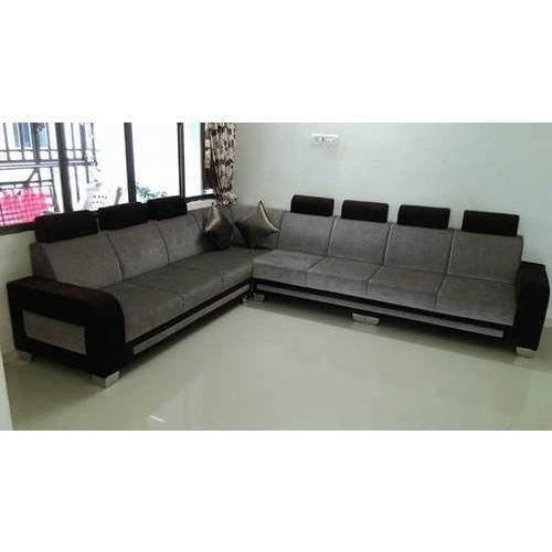 Grey Velvet And Solid Wood L Shaped Sofa Set