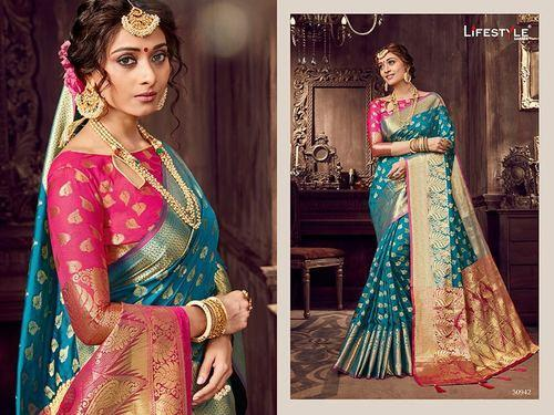 82db3aba9 Silk Party Wear Lifestyle Banarasi Sarees Wholesale Supplier Lifestyle  Sarees Surat