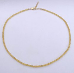 Natural Precious Yellow Sapphire Stone Faceted Rondelle Beads Necklace With Sterling Silver Clasp