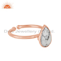 White Howlite Gemstone Rose Gold Plated 925 Silver Adjustable Ring Jewelry