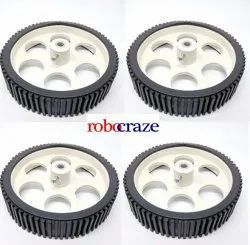 Robocraze Gear Motor Robot Wheel for 6 mm Shaft Dc Motor (10cm x 2cm)