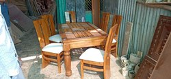 Teak Wood Walnut 6 SEATER DINING TABLE, For Home, 5 Year