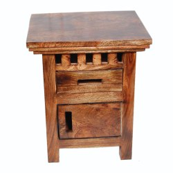 Wooden Brown Side Table, Number Of Drawer: 2