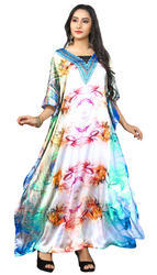 Daily Wear V-Neck Printed Satin Silk Kaftans
