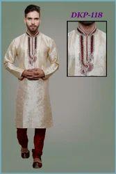 Men Silk Off White Designer Kurta Pyjama